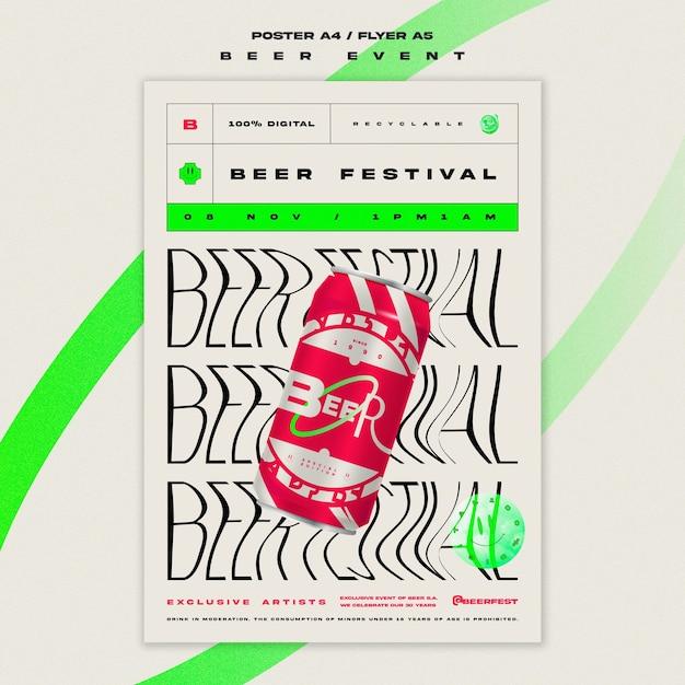 Verticale poster sjabloon voor bierfestival Gratis Psd