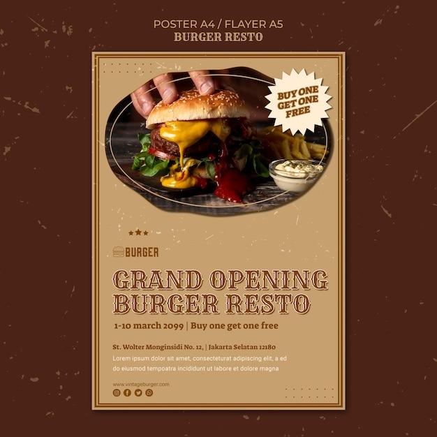 Verticale poster sjabloon voor hamburgerrestaurant Gratis Psd