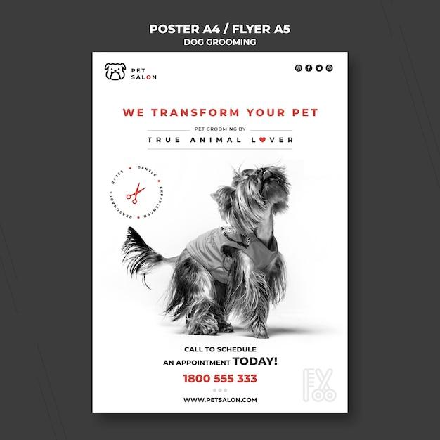 Verticale poster voor dierenverzorgingsbedrijf Gratis Psd