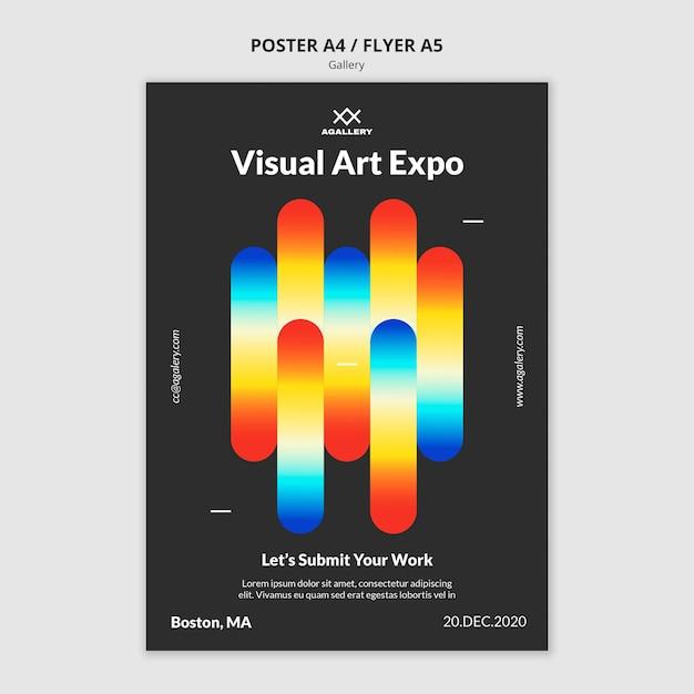 Verticale poster voor expositie van moderne kunst Gratis Psd