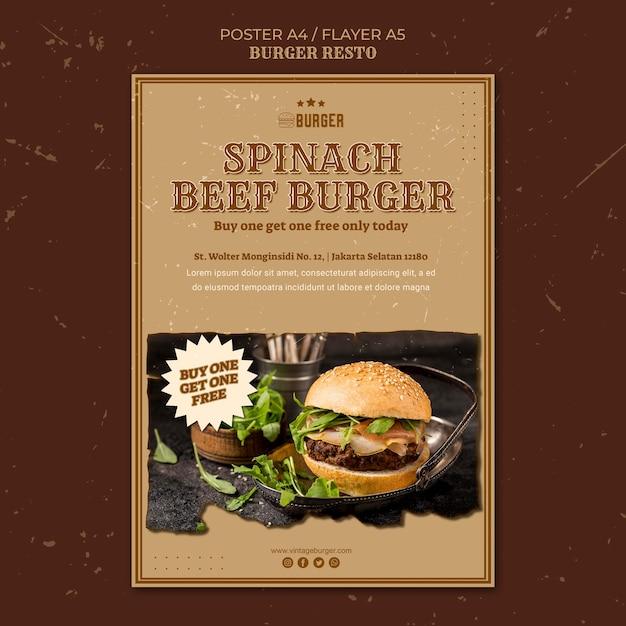 Verticale poster voor hamburgerrestaurant Gratis Psd