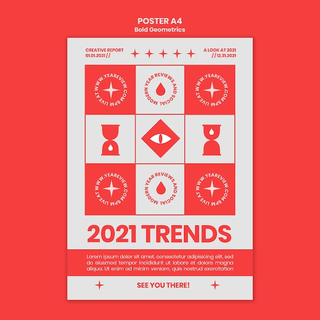 Verticale poster voor nieuwjaarsoverzicht en trends Gratis Psd