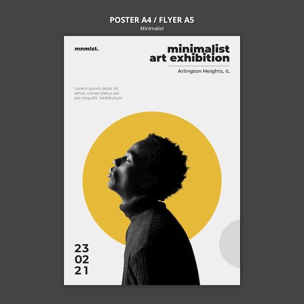 Verticale postersjabloon in minimale stijl voor kunstgalerie met man Gratis Psd