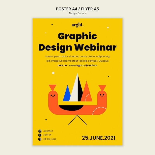 Verticale postersjabloon voor grafische ontwerpklassen Gratis Psd