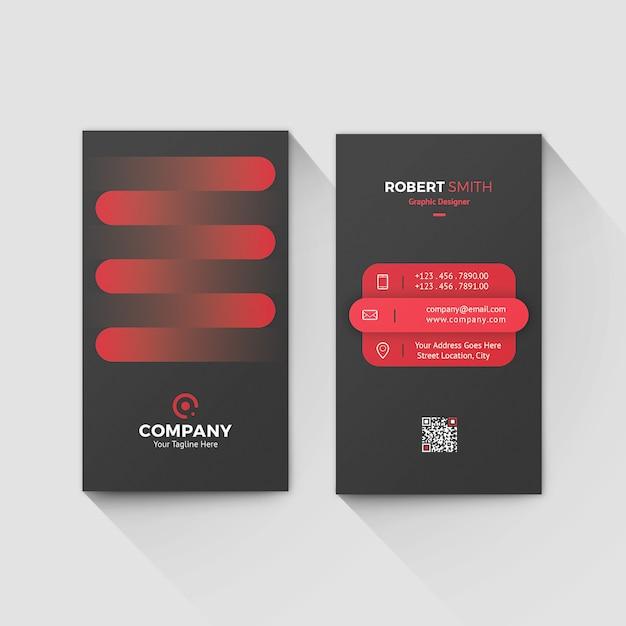 Verticale rode creatieve gradiënt visitekaartjesjabloon Premium Psd