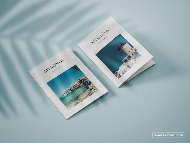 Verticale tweevoudige brochure mockup Premium Psd