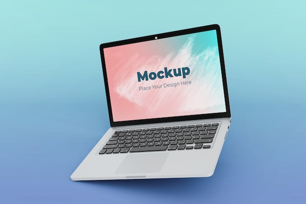 Verwisselbare drijvende laptop mockup ontwerpsjabloon Premium Psd