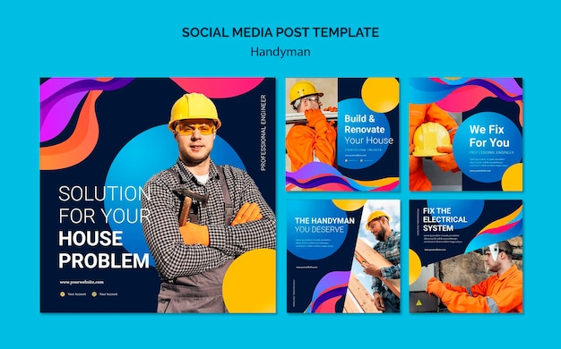 Verzameling instagram-berichten voor bedrijf dat klusjesman-services aanbiedt Gratis Psd