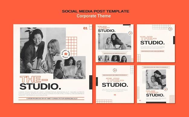 Verzameling instagram-berichten voor bedrijfsstudio Gratis Psd