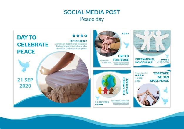 Verzameling instagram-berichten voor internationale dag van vrede Gratis Psd