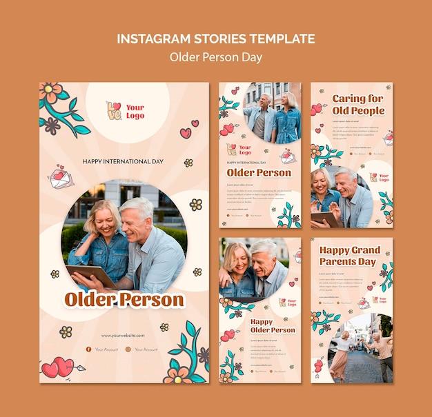 Verzameling instagram-verhalen voor hulp en zorg van ouderen Gratis Psd