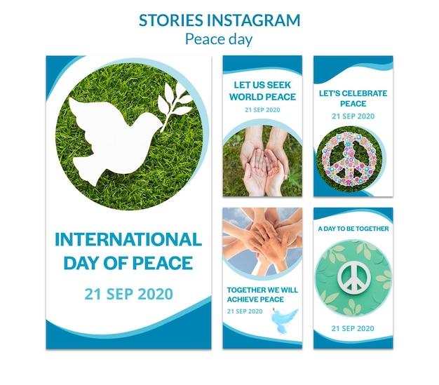 Verzameling instagram-verhalen voor internationale dag van vrede Gratis Psd
