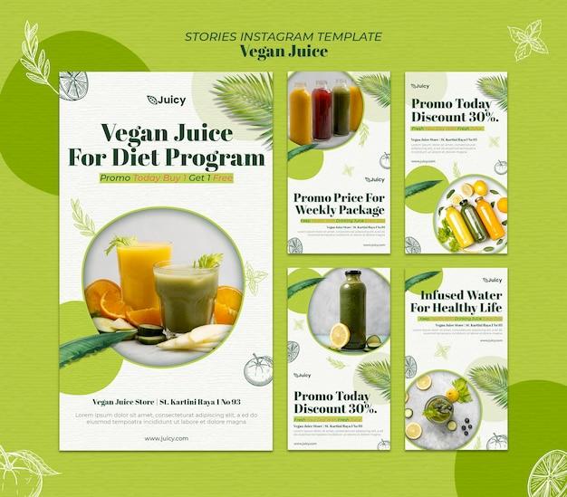 Verzameling instagram-verhalen voor veganistisch sapbezorgbedrijf Premium Psd