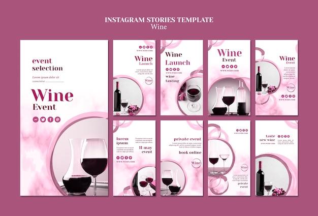 Verzameling instagramverhalen voor wijnproeverijen Gratis Psd