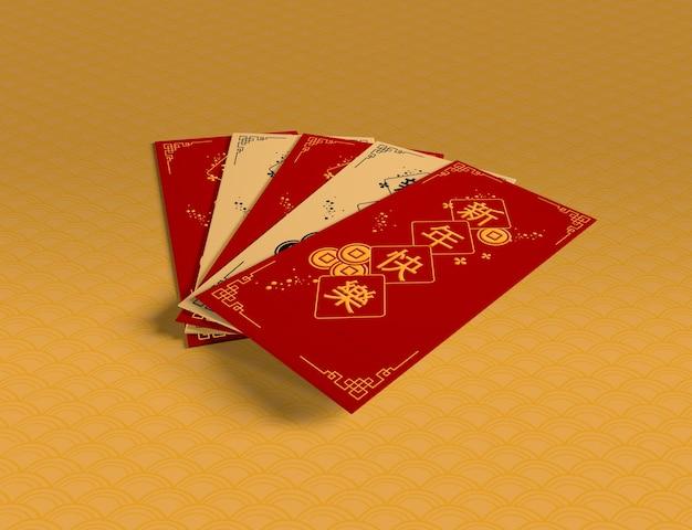 Verzameling van chinees nieuwjaar wenskaarten Gratis Psd