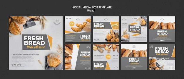 Verzameling van instagram-berichten voor bakkerijwinkel Gratis Psd