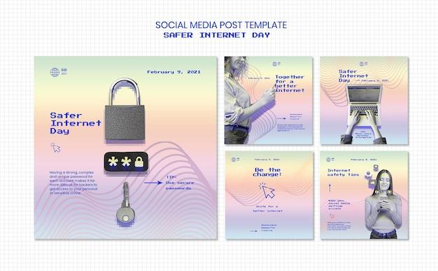 Verzameling van instagram-berichten voor een veiliger dagbewustzijn op internet Gratis Psd