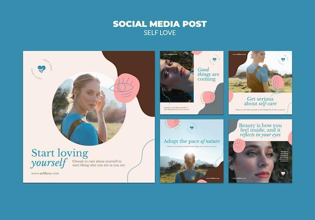 Verzameling van instagram-berichten voor eigenliefde en acceptatie Gratis Psd