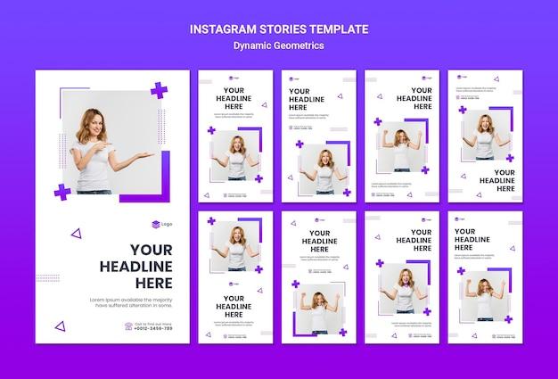 Verzameling van instagram-verhalen gratis thema met dynamische geometrie Gratis Psd