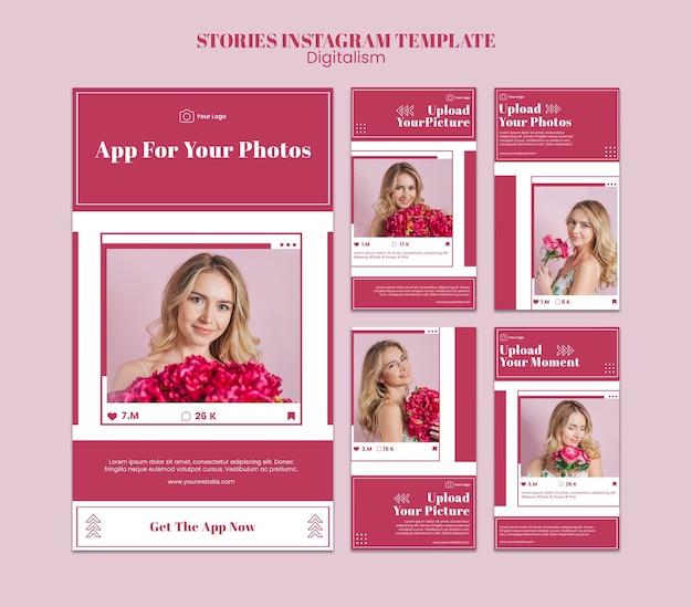Verzameling van instagram-verhalen voor het uploaden van foto's op sociale media Premium Psd