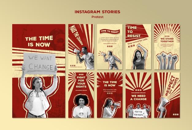 Verzameling van instagramverhalen met protesteren voor mensenrechten Gratis Psd