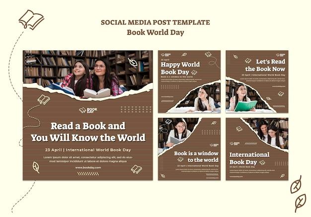 Verzameling van wereldboekdag instagram-berichten Gratis Psd
