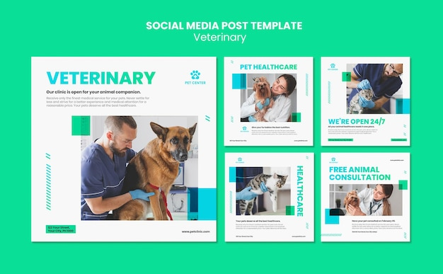 Veterinaire advertentie social media postsjabloon Gratis Psd