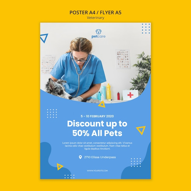 Veterinaire korting raadpleegt poster sjabloon Gratis Psd
