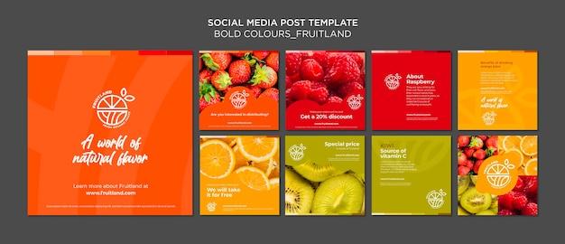 Vetgedrukte kleuren fruitland social media post Gratis Psd