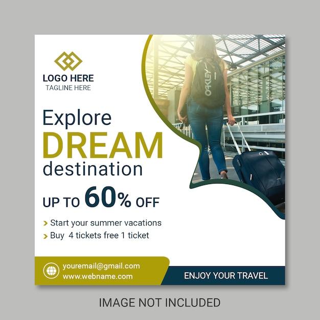 Viaggiare modelli di banner post Psd Premium