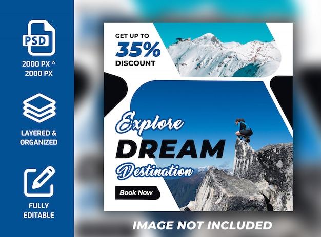 Viajes vacaciones vacaciones instagram banner cuadrado plantilla psd PSD Premium