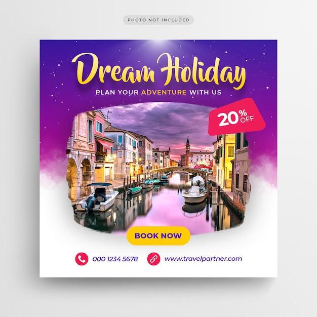 Viajes vacaciones vacaciones medios sociales banner o plantilla de volante cuadrado PSD Premium