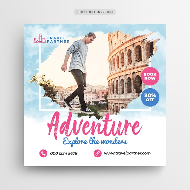 Viajes vacaciones vacaciones post banner o flyer cuadrado PSD Premium