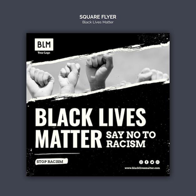 Las vidas negras minimalistas importan flyer cuadrado PSD gratuito