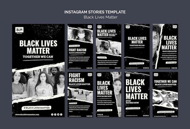 Las vidas negras minimalistas importan las historias de las redes sociales PSD gratuito