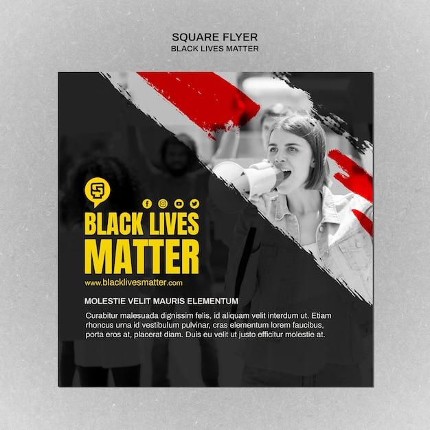 Las vidas negras minimalistas importan volante cuadrado con foto PSD gratuito