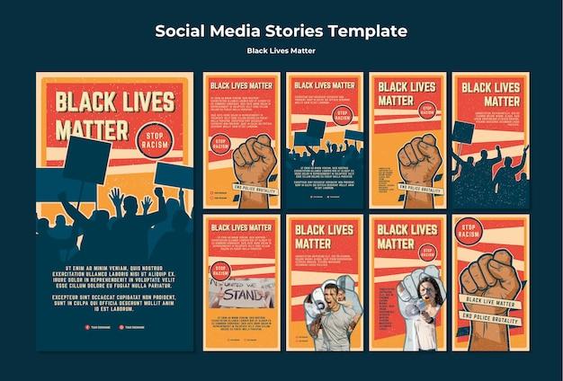 Las vidas negras no importan historias de instagram de racismo PSD gratuito