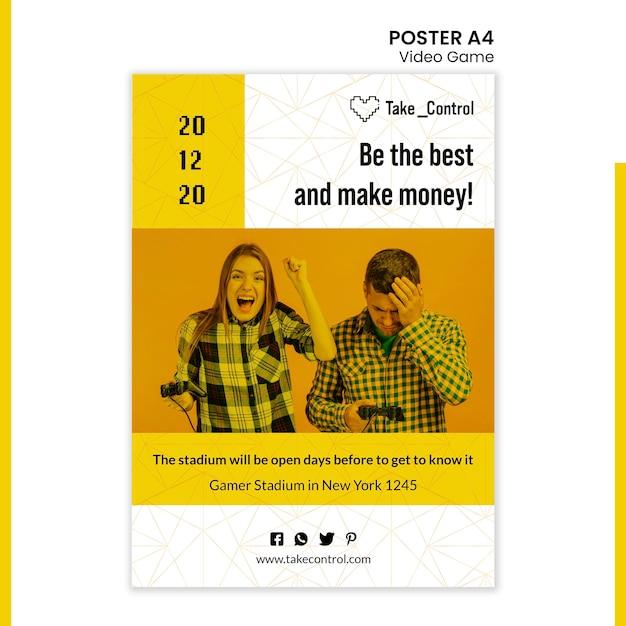 Video game concept poster sjabloonontwerp Premium Psd