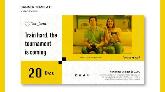 Video game concept sjabloon voor spandoek Gratis Psd