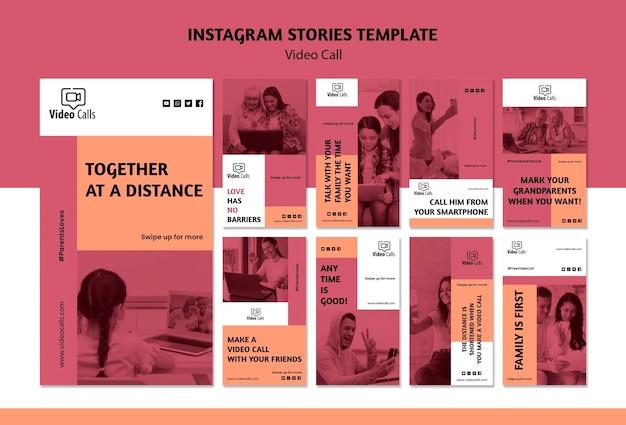 Video-oproep instagram verhalen sjabloon Gratis Psd