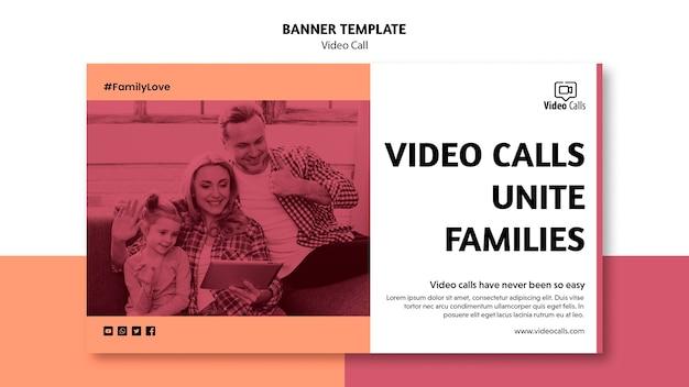 Videogesprekken verenigen familiesjabloon voor spandoek Gratis Psd