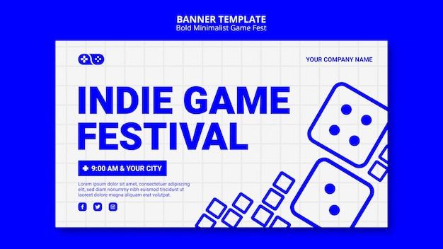 Videojuegos indie jam fest banner template PSD gratuito