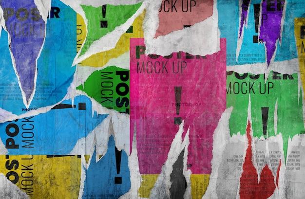 Viejo grunge rasgado cartel maqueta de pared realista PSD Premium