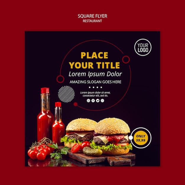 Vierkant flyerontwerp voor restaurant Gratis Psd