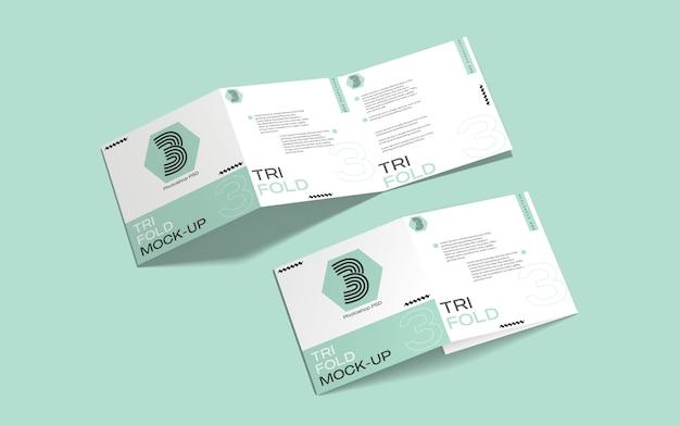 Vierkant gevouwen brochure mockup Premium Psd