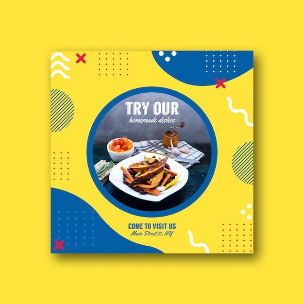 Vierkant kaartsjabloon voor restaurant in de stijl van memphis Gratis Psd