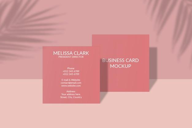 Vierkant visitekaartje mockup met bladschaduw Premium Psd