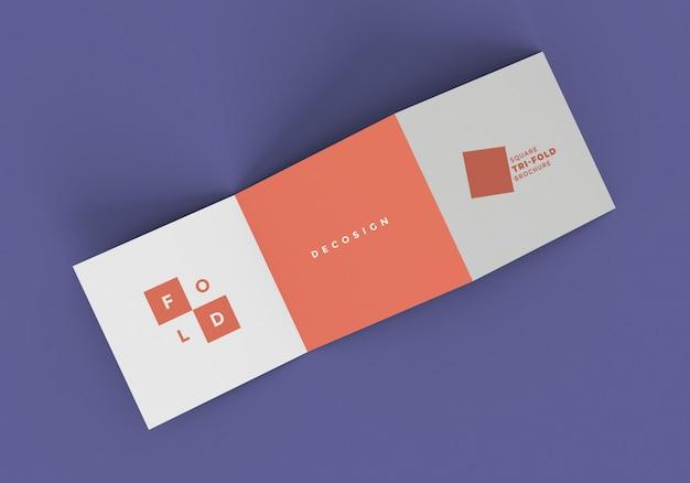 Vierkant z-vouw brochure mockup Premium Psd