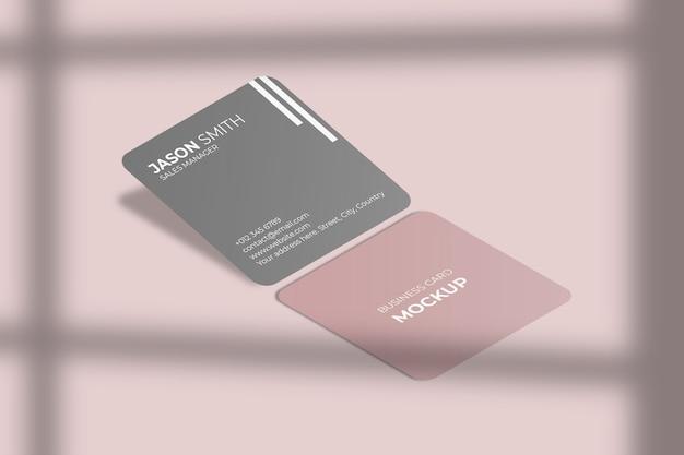 Vierkante afgeronde hoek visitekaartje mockup met schaduw Premium Psd