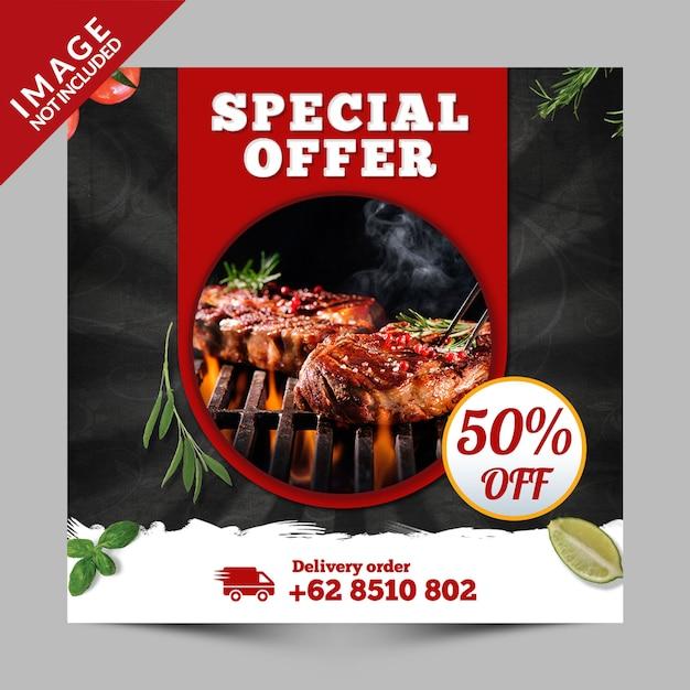 Vierkante banner, flyer of instagram-post voor fastfoodrestaurants om mee te nemen Premium Psd